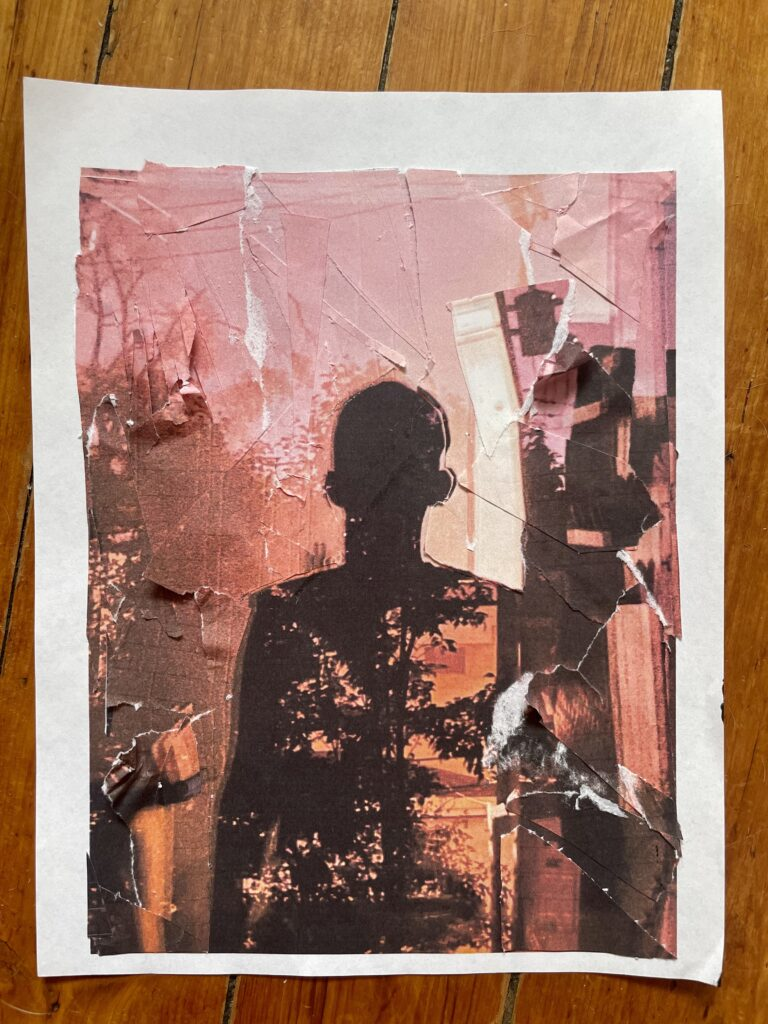 ID: Self-portrait of an unknown silhouette, centered, shadow-like and filled with vascular tree branches. The background is hues of pink, red, orange, and cream. The background features layers of paper that make the collage look like it's moving. The style is jagged and raw.